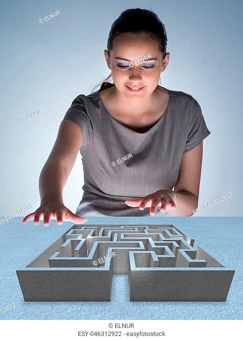 Businesswoman with maze in difficult situations concept