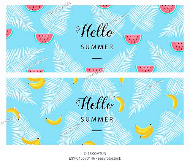 Hello Summer banner. Flat style summer background. Trendy summer wallpaper with fruit. Vector illustration