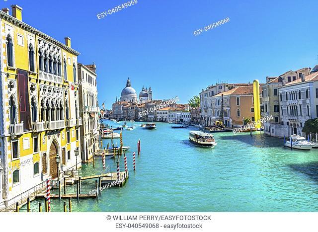 Grand Canal Santa Maria della Salute Church from Ponte Academia Bridge Gondolas Venice Italy