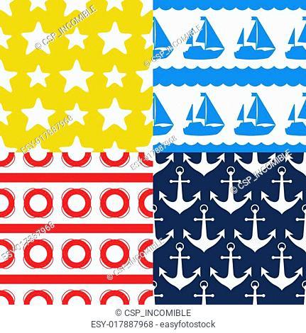 Nautical seamless patterns set in flat design style
