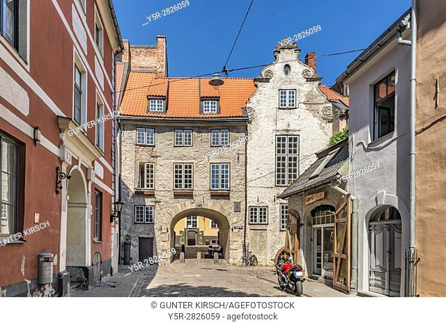 The Swedish Gate (Zviedru varti) was built in 1698. It is the only surviving city gate in the old town of Riga, Latvia, Baltic States, Europe