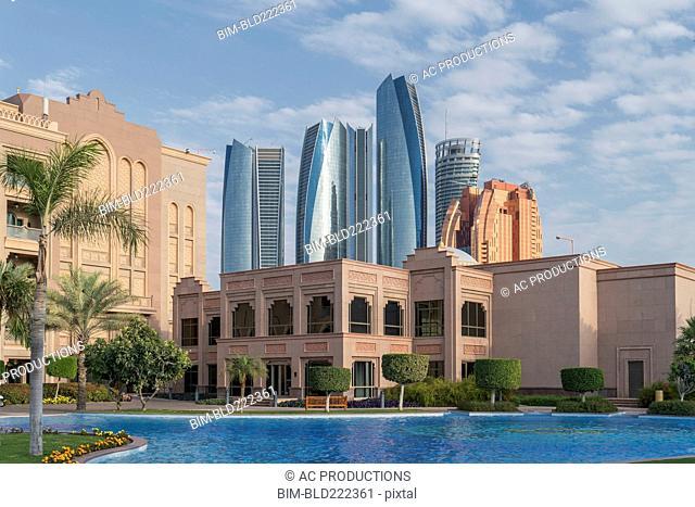Waterfront near modern highrises, Abu Dhabi, Abu Dhabi Emirate, United Arab Emirates