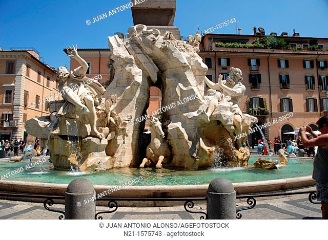 Fountain of the Four Rivers at the Piazza Navona, Rome, Lazio, Italy