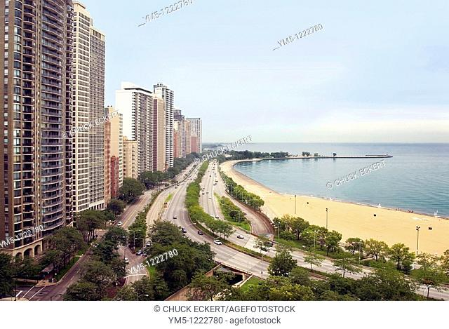 Chicago's high rise, high rent luxury district, the Gold Coast, which sits along Lake Shore Drive, Oak Street Beach, and Lake Michigan View looking North