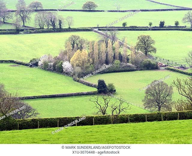 View across Nidderdale in Spring from Scarah Bank near Ripley North Yorkshire England