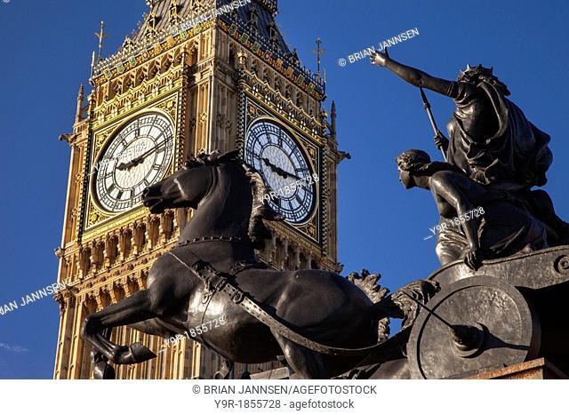 Horse and chariot statue of Queen Boudicca and her daughters below Big Ben at Embankment, Westminster, London England, UK