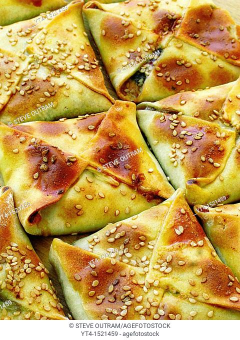 Kalitsounia Cheese and Spinach Pies in a Bakery, Chania, Crete, Greece