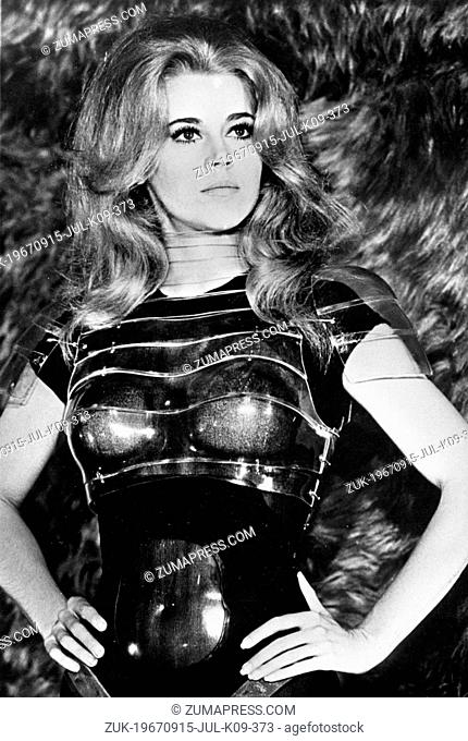 Oct. 10, 1968 - Rome, Italy - Barbarella. After an in-flight anti-gravity striptease (masked by the film's opening titles), Barbarella (Jane Fonda)