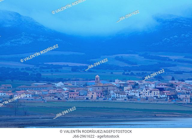 Evening view of Gallocanta village in the wildlife reserve Laguna de Gallocanta. Zaragoza. Aragon. Spain