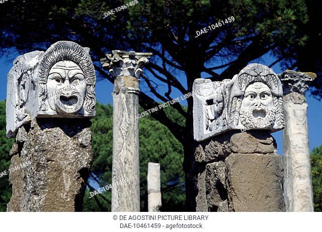 Grotesque masks, Roman theatre at Ostia Antica. Roman civilisation, 1st century BC - 2nd century AD