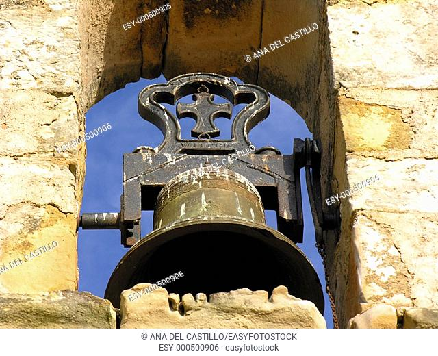 Bell of a Spanish church, Puertomingalvo, Teruel province, Spain
