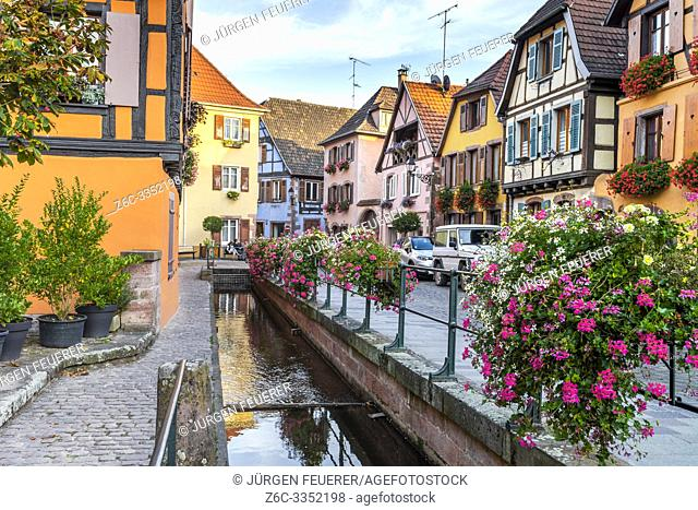 old timbered houses at a brook, wine village Ribeauvillé, Alsace wine Route, France