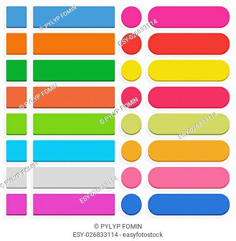 32 blank icon in flat style. 3D button square, rectangle, circle shapes with gray shadow on white background. Blue, red, yellow, green, pink, orange, brown