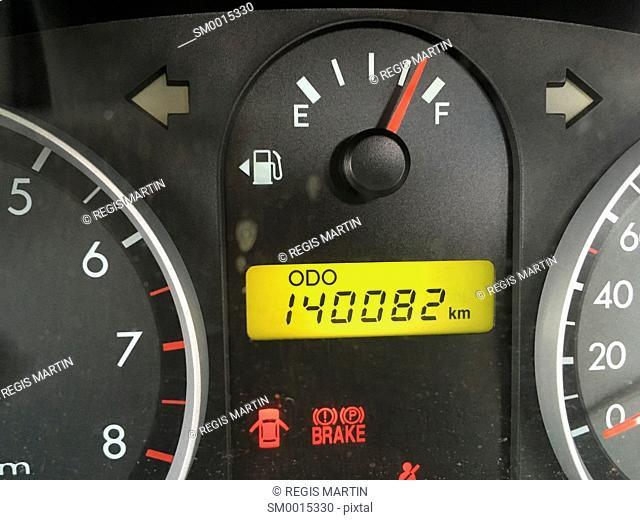 Car odometer and fuel gauge
