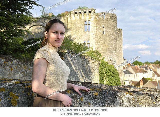 young woman at the Chateau de Montresor, Touraine, department of Indre-et-Loire, Centre-Val de Loire region, France, Europe