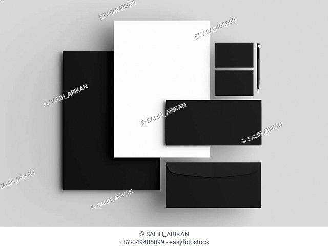 Corporate identity stationery mock up isolated on gray background. 3D illustrating