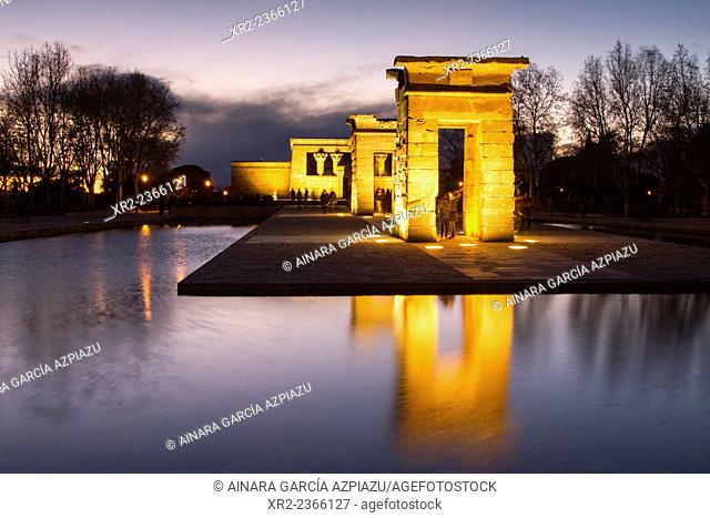 Sunset in Templo de Debod, Madrid, Spain