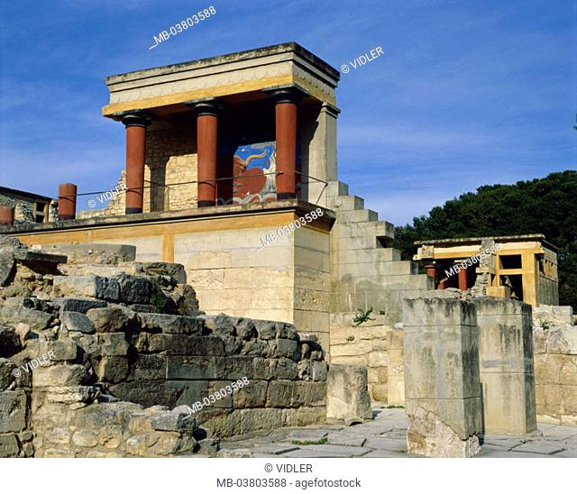Greece, island Crete, Knossos,  Ruin, Südpropylon, murals  Europe, Mediterranean island, sight, culture, temples, palace, palace ruin, remains, painting