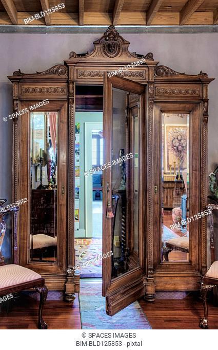 Ornate wardrobe with secret door