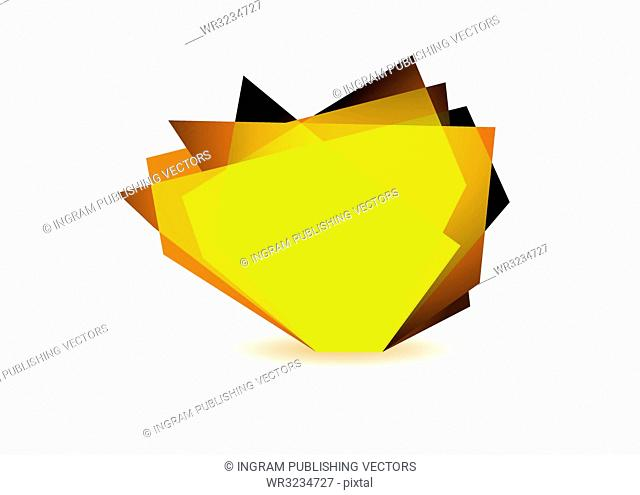 Orange glass shard with white background and copy space