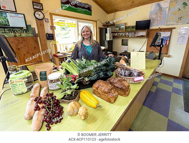 A fresh bounty of organic products and fresh baking, indicative of the type of products found at the CO-OP on Cortes Island, Cortes Island, British Columbia