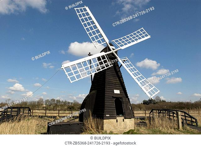 Traditional windmill at Wicken Fen Nature Reserve, Cambridgeshire, United Kingdom