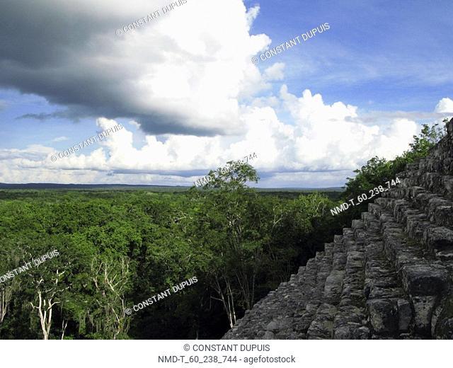 Old ruins of a pyramid, Mayan ruins, Calakmul, Campeche, Mexico