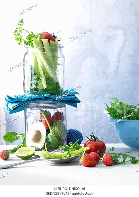 Various saladsutables in preserving jars