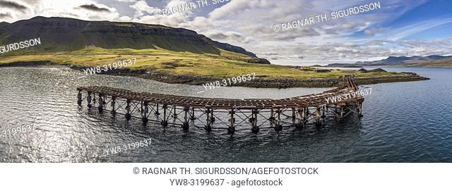 Rusted pier, remains of a US and British WWII naval installation, Hvitanes, Hvalfjordur, Iceland