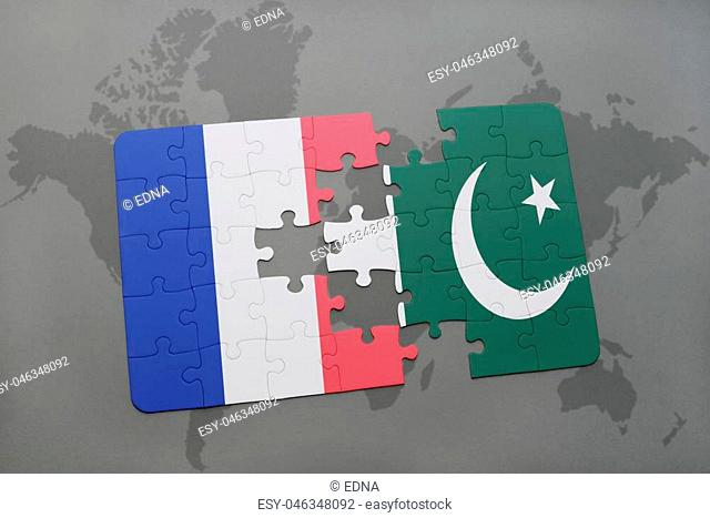 puzzle with the national flag of france and pakistan on a world map background. 3D illustration