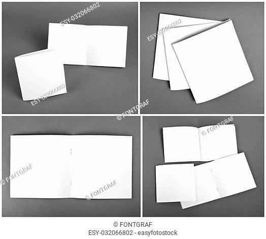 Set of blank magazine, catalog, brochure, magazines, book on gray background