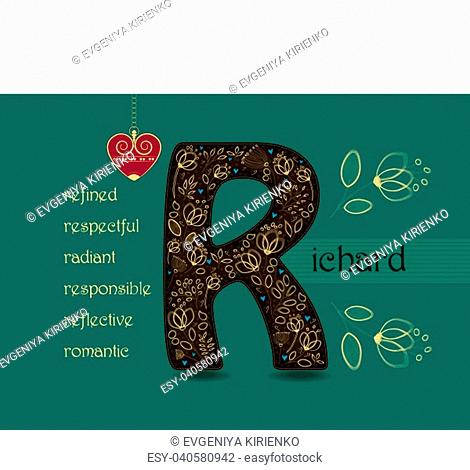 Name Day Card for Richard. Brown letter R with golden floral decor. Vintage red heart with chain. Words begining with the letter R - refined, respectful