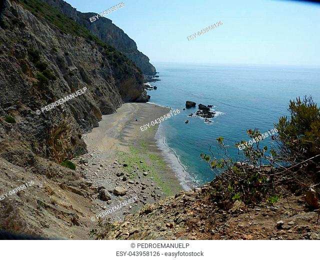 """Framing of the """"""""Praia da cova da miljona"""""""". Image captured in summer and located near Sesimbra in Portugal.Zone of difficult pedestrian access"""