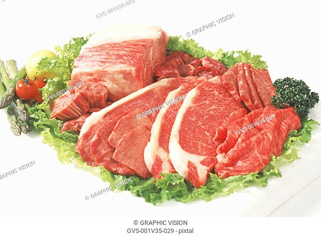 Assorted Cuts of Uncooked Beef