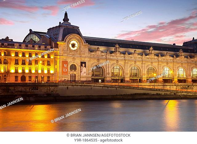 Twilight over Musee d'Orsay and the River Seine, Paris France