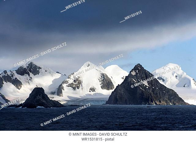 The landscape of conical mountain peaks on King George Island
