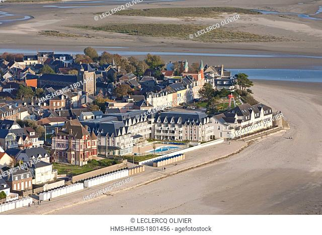 France, Somme, Baie de Somme, Le Crotoy (aerial view)