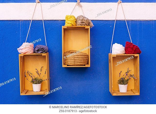 Showcase detail of a craft shop. Burano, Venice, Veneto, Italy, Europe