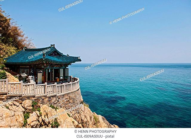 Cliff top pavilion at Naksansa Temple, Naksansa, Yangyang, Gangwon province, South Korea
