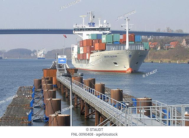Container ship on Kiel Canal, Schleswig-Holstein, Germany