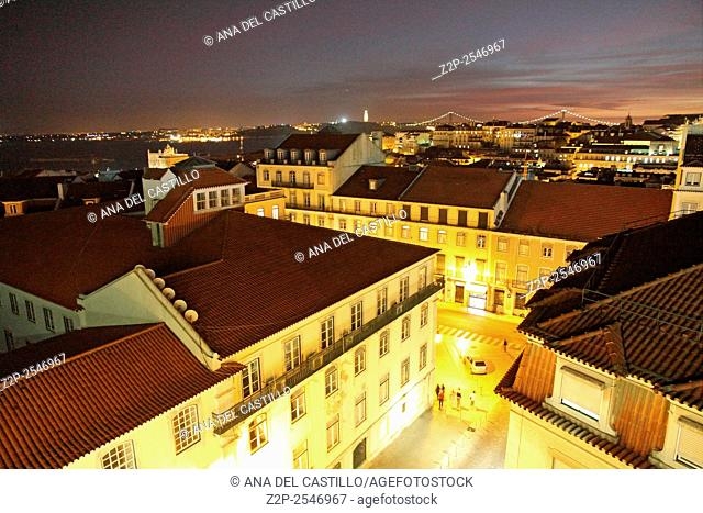 Night view of central part of Lisbon,Portugal