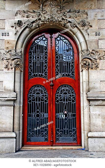Modernist gate from La Gran Via, Barcelona, Catalonia, Spain