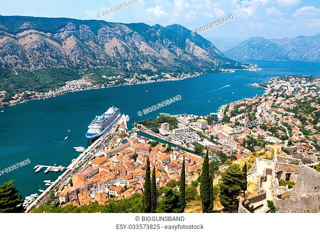 Old harbor and gulf of Kotor seen from above