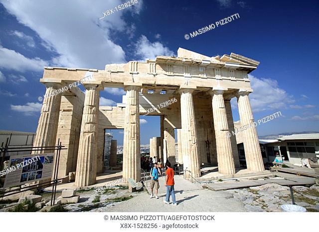 The Propylaea, monumental gateway to the Acropolis, Athens, Greece