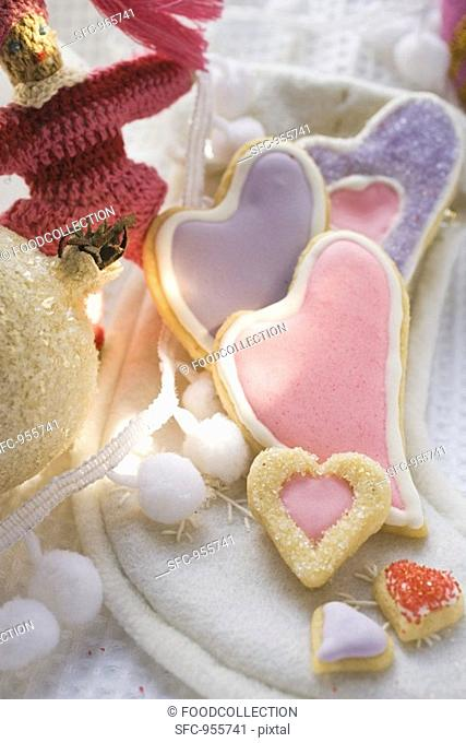 Assorted heart-shaped Christmas biscuits