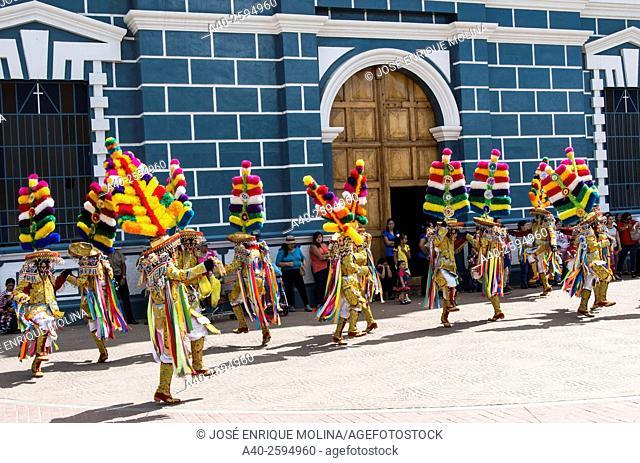 Negritos folk parade in Huanuco. Peru