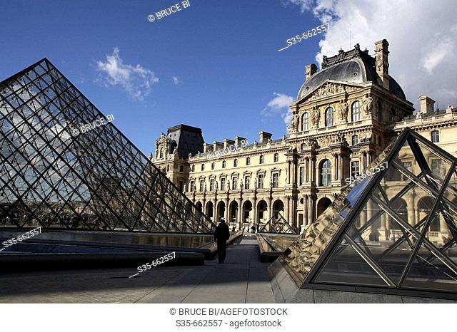 Pyramids of Musee du Louvre with Richelieu Wing in the background. Paris. France