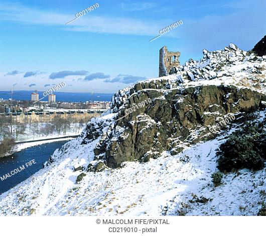 St. Anthony's Chapel, Holyrood Park in winter. Edinburgh. Scotland