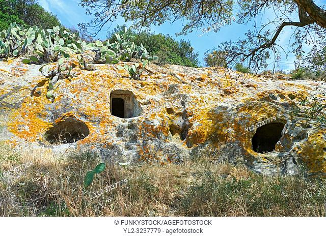 Pictures of Copper age Domus de Janas Sas Concas prhistoric chambered rock burial chambers cared into trachyte , Abealzu-Filigosa culture 3000 BC, Oniferi