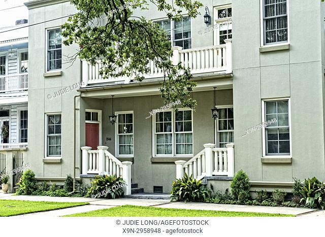 New Orleans, LA, Garden District. Close-up of an Apartment Building, Dual Entrance to Two Apartments